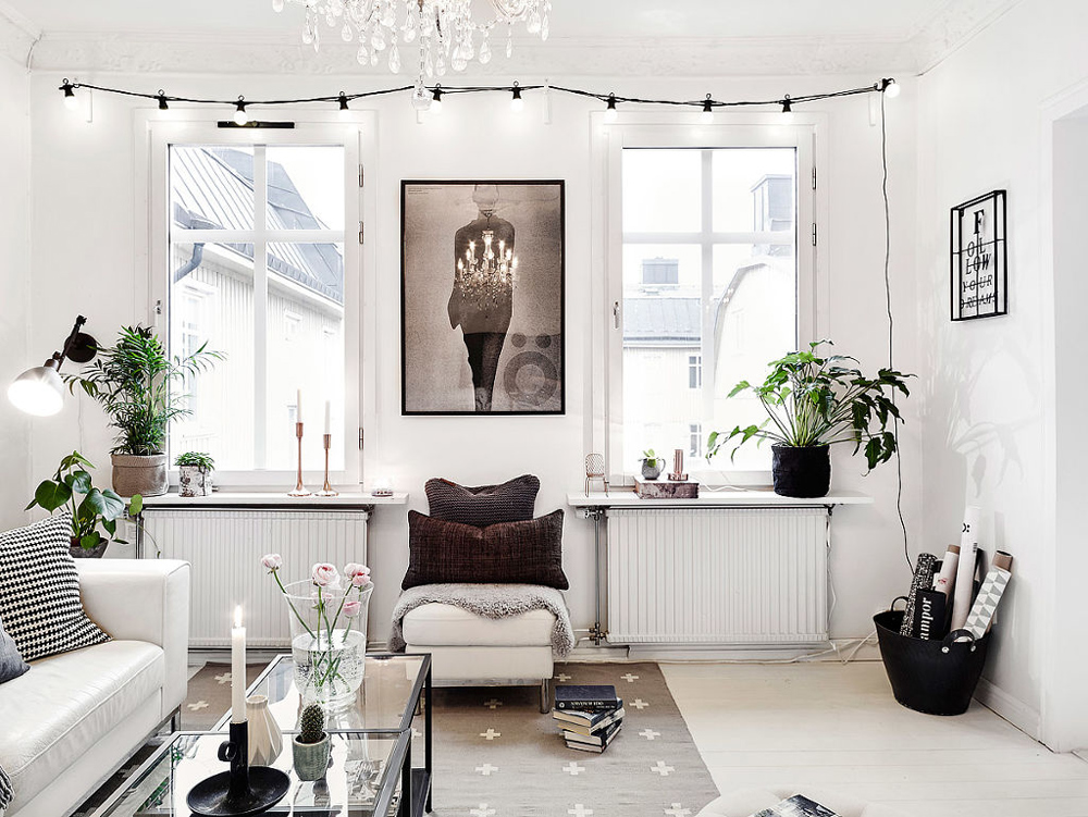 Oracle, Fox, Sunday, Sanctuary, At, Ease, Monochrome, Scandinavian, Interior, Living Room, Brass, Lights, Plants, Artwork