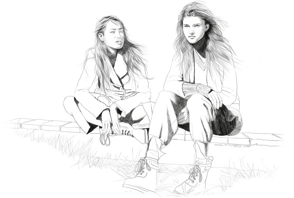 Astrid Holler, Fernanda Ly, Benny Horne, Vogue Australia, illustration, girls sitting, models, sitting, boots, drawing, oracle fox