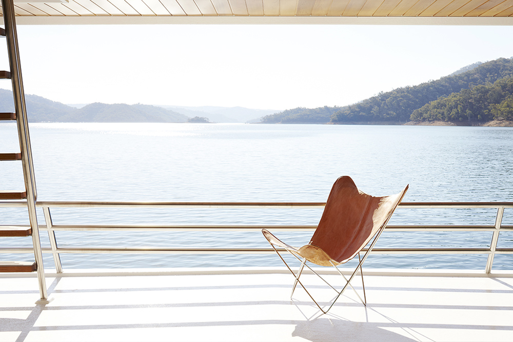 Oracle, Fox, Sunday, Sanctuary, Eildon, Houseboat, Scandinavian, Design, Water-View-Balcony
