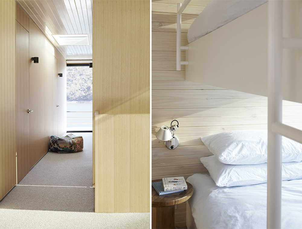 Oracle, Fox, Sunday, Sanctuary, Eildon, Houseboat, Scandinavian, Design, minimal, Interior, sunlight, bedroom