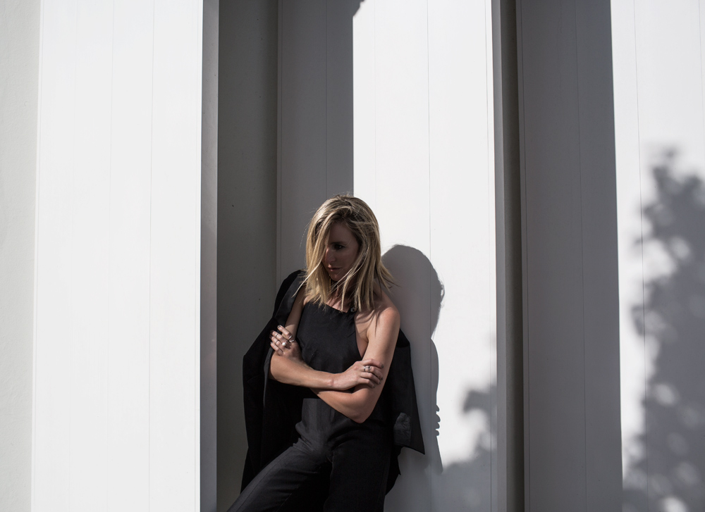 Elissa McGowan, black jumpsuit, jumpsuit, oracle fox, celine shoes, celine loafers, amanda shadforth, oracle fox, mcQ, blazer, black blazer