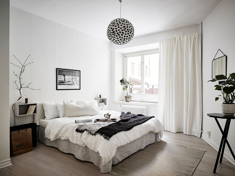 Oracle, Fox, Sunday, Sanctuary, Detail, Oriented, Black, and, white, Scandinavian, Interior, Bedroom, black and white