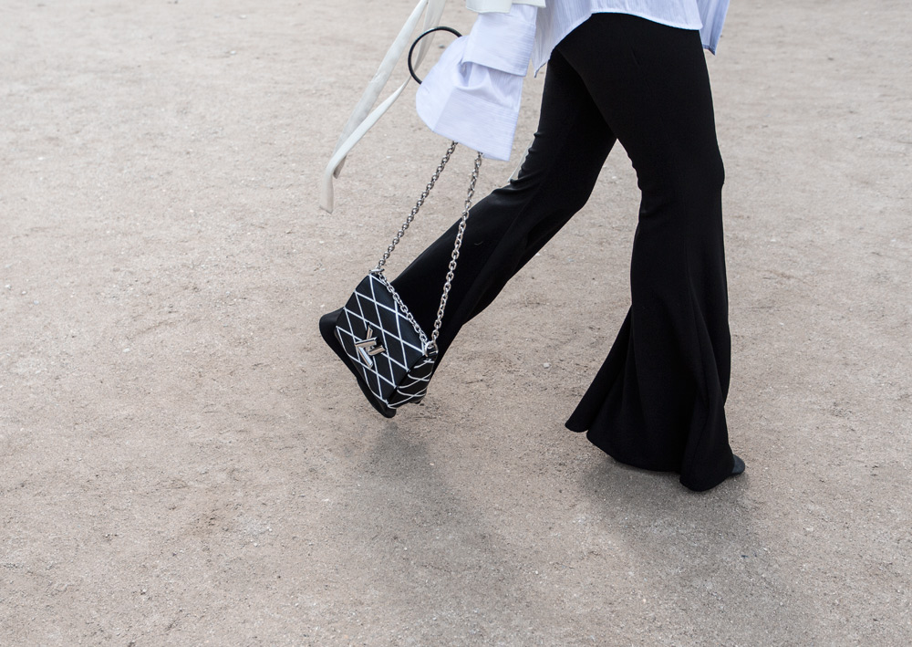 Ellery Top, Ellery Bell Sleeve, Ellery Flares, Louis Vuitton Bag, White shirt, Hair ribbon, Paris, Paris outfit, amanda shadforth, oracle Fox