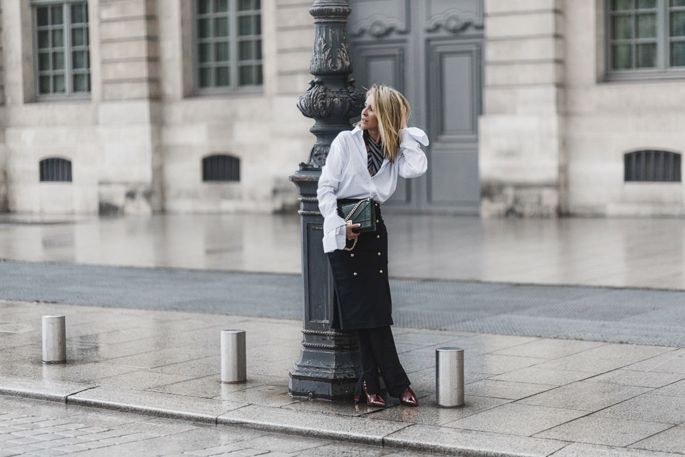 Camilla Marc, Camilla Marc Skirt, Camilla Marc Pants, Spring 2016, Military skirt, white shirt, oversized cuff, street style outfit, paris street style, amanda shadforth, oracle fox