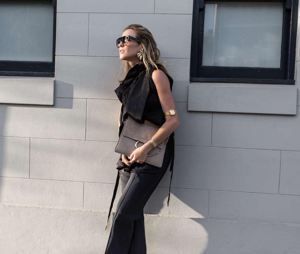 Ellery, Ellery Top, Ellery Pants, Ellery Cropped Flares, Chloe Bag, Black Outfit, Celine Shoes, Celine Boots, Gold Jewellery, Gold Jewelry, Streetstyle, Street Style, Amanda Shadforth, Oracle Fox
