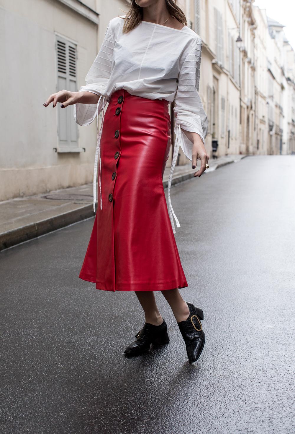 ellery, ellery denim, ellery jeans, ellery denim jeans, awake skirt, red skirt, leather skirt, awake, tibi, tibi top, amanda shadforth, oracle fox