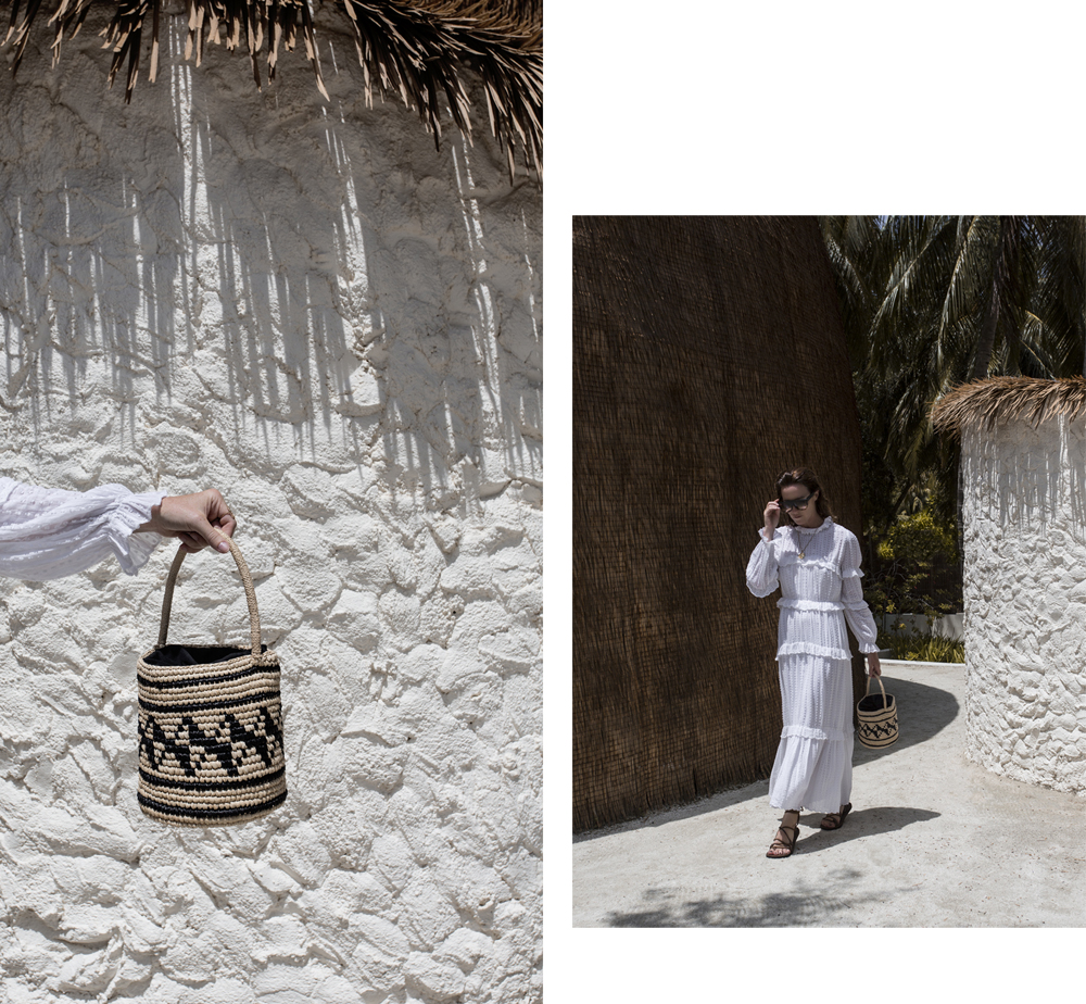 Isabel Marant, Isabel Marant dress, white dress, cane bag, straw bag, matches fashion, matchesfashion, wrap sandals, maldives holiday, bermuda hat, vacation, celine sunglasses