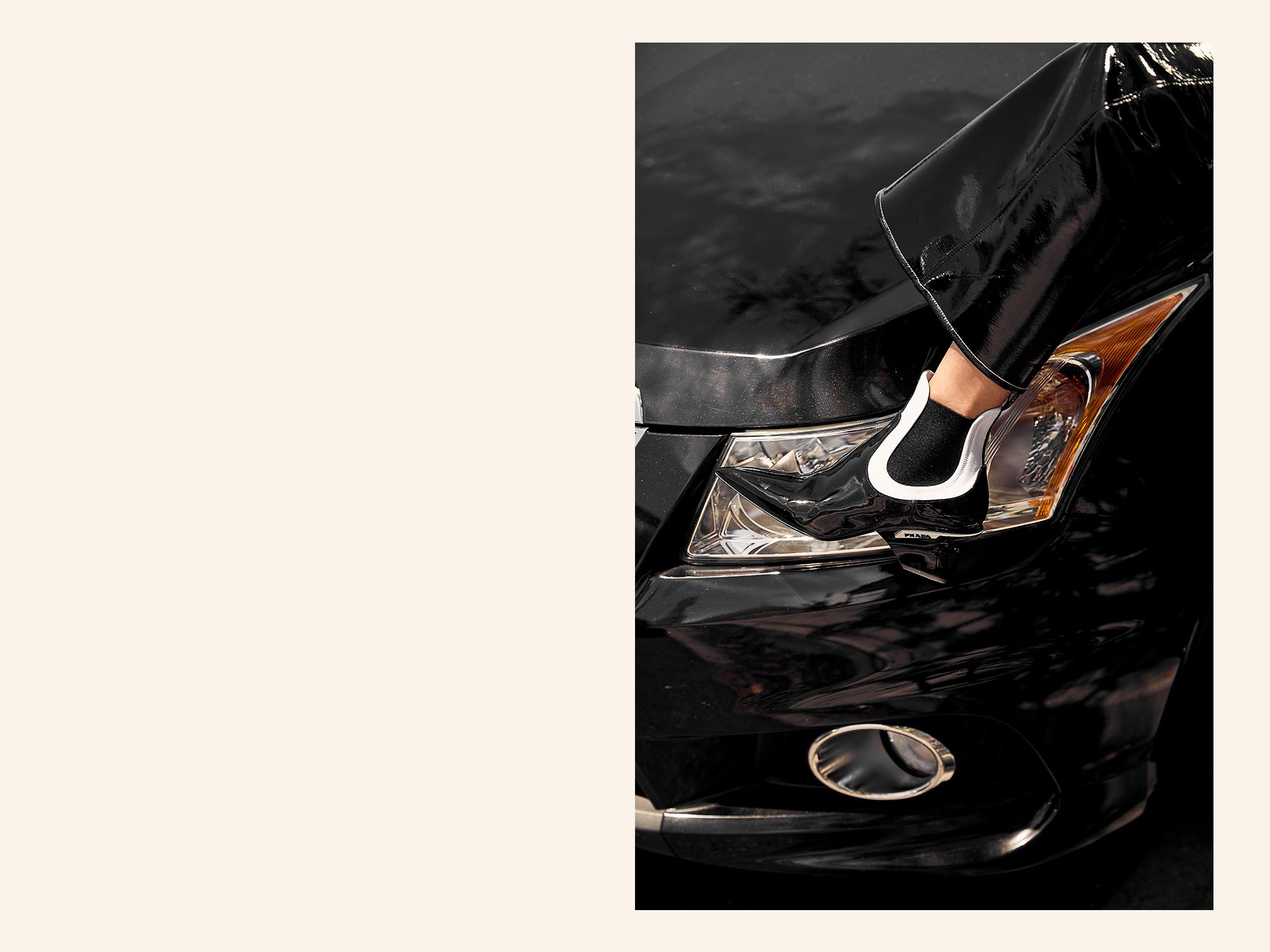 Black, Prada, Boots, Balenciaga, Crystal Earrings, Editors Outfit, Oracle, Fox