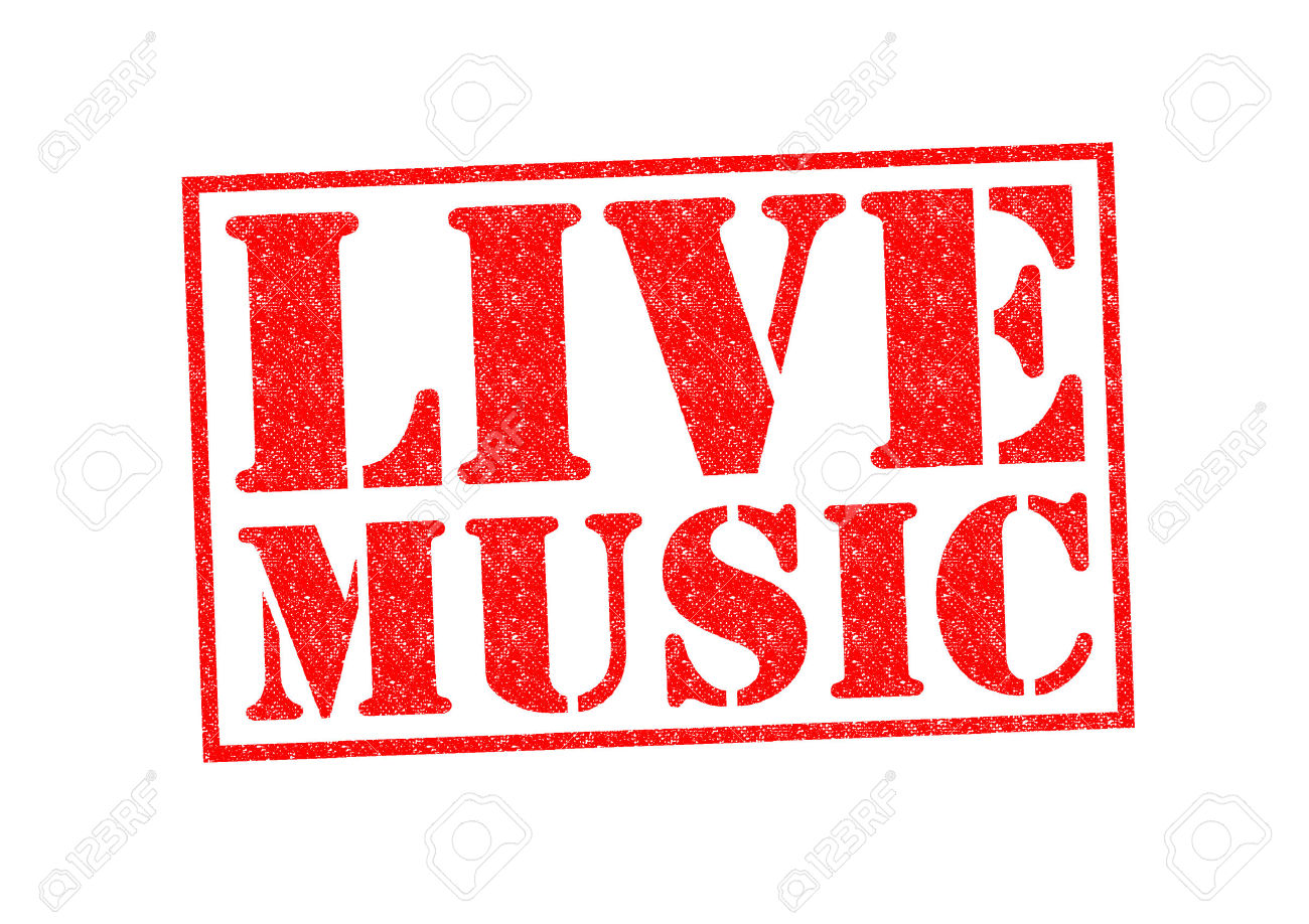 22629124 Live Music Rubber Stamp Over A White Background Stock Photo