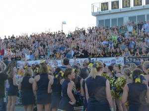Students cheer during a recent pep rally.