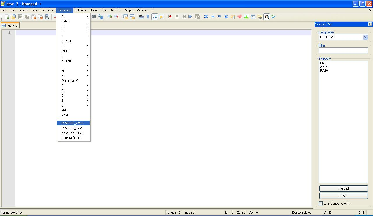 Essbase in Notepad++ (just like EAS console) ~ Oracle