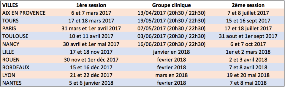 Calendrier Formations Oralite OAV