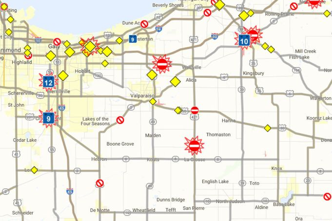 INDOT: All Road Closures in Indiana | OrangeBean Indiana on indiana map with counties and scale, indiana map with cities and towns, indiana map with rivers, indiana map with schools,