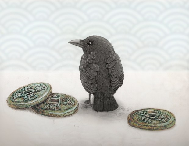 little bird with coins