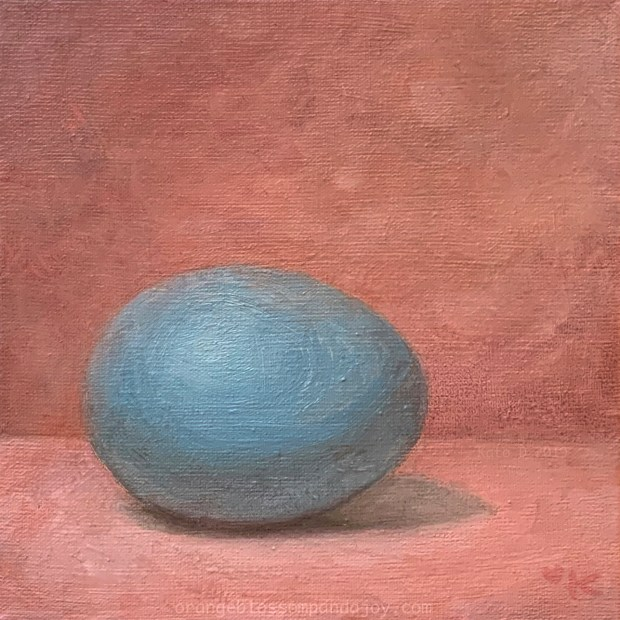 Blue Egg in a Pink Space, oil on canvas, 6x6 inches, Kato D 2019