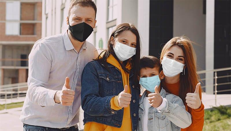 Family wear face masks
