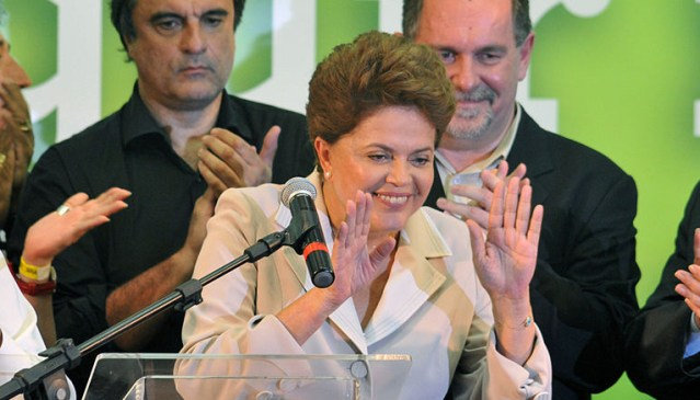 DILMA ROUSSEFF celebrates her 2010 election to the presidency of Brazil.