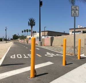 BIKE PATH entrance on Nelson Street just north of Stanford Avenue in Garden Grove (OC Tribune photo).