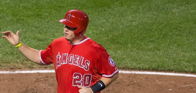 C.J. CRON had one of  the two hits for the Angels on Wednesday. He homered in the seventh (Flickr/Keith Allison).