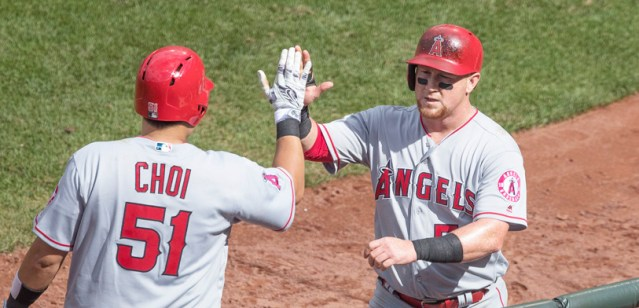 JI-MAN CHOI (left) hit two home runs Thursday in the Angels' 8-6 loss. Kole Calhoun is at right (Flickr/Keith Allison photo).
