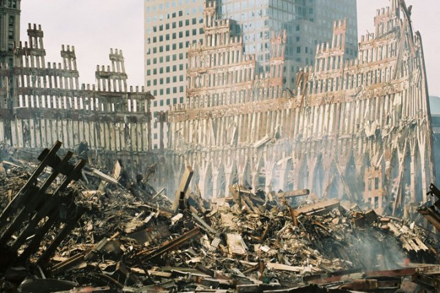 THE EXTERIOR SHELL of the south tower is all that remained standing after the Sept. 11, 2001 attacks (FEMA photo).
