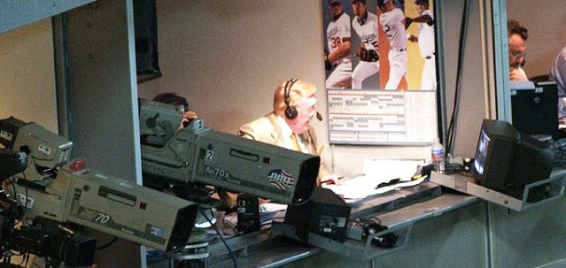 VIN SCULLY in the broadcast booth (Wikipedia photo).
