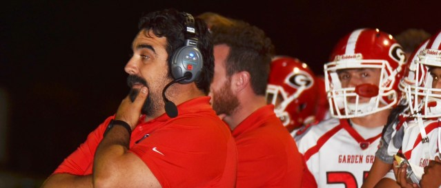 GROVE COACH Ricardo Cepeda is looking at no wore than a tie for the GGL football title after the Argonauts defeated Bolsa 69-0 Friday night (OC Tribune photo).