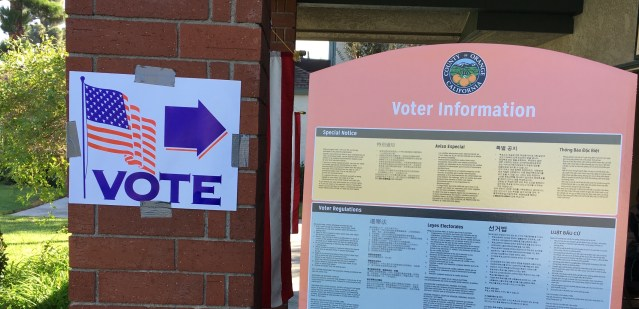 POLLING PLACE in Garden Grove. Workers there reported a heavy morning turnout (OC Tribune photo).
