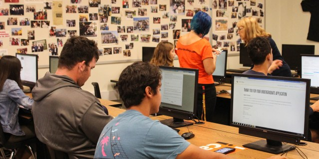 SENIORS at Ocean View High School in Huntington Beach filing online applications for colleges and universities (HBUHSD photo).