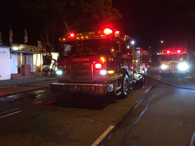 FIRE at a Buddhist temple in Garden Grove did an estimated $225,000 damage Monday night (GGFD photo).