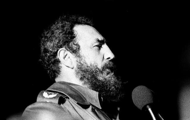 FIDEL CASTRO speaking in Havana, Cuba, in 1978 (Wikipedia photo by Marcelo Montecino).
