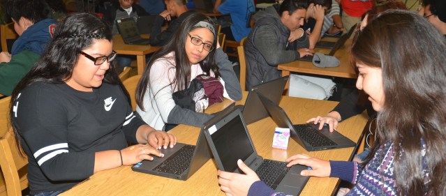 """STUDENTS at Garden Grove High Thursday during """"The Hour of Code."""" (OC Tribune photp)."""