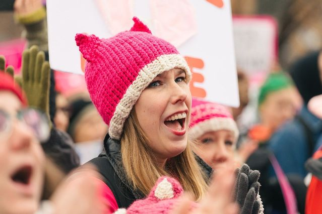 """THE PINK """"PUSSYCAT"""" has become a popular symbol at the Women's Marches across the country."""