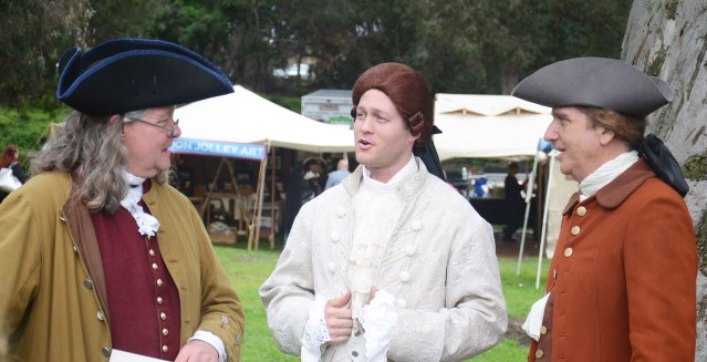 "BENJAMIN FRANKLIN, Thomas Jefferson and Roger Sherman re-enactors at ""The Revolution"" event Saturday at Central Park in Huntington Beach (OC Tribune photo)."