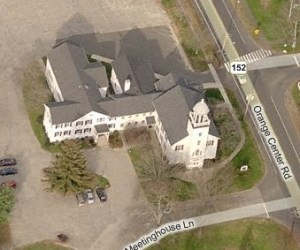 Aerial view of the Orange Congregational Church
