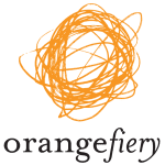 "Orangefiery logo on transparent background. An orange halo sits on top of the word ""orange"" written in a typewriter-esque font and ""fiery"" written in a script-like font."