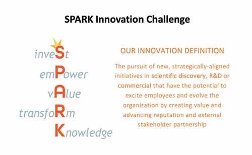 "Image title reads ""Spark Innovation Challenge"" and provides an innovation definition below reading ""The pursuit of new, strategically-aligned initiatives in scientific discovery, R&D or commercial that have the potential to excite employees and evolve the organization by creating value and advancing reputation and external stakeholder partnership"" in orange text. To the left of this text is an acrostic, incorporating the SPARK logo, reading from top to bottom: ""inveSt, emPower, vAlue, transfoRm, Knowledge."""