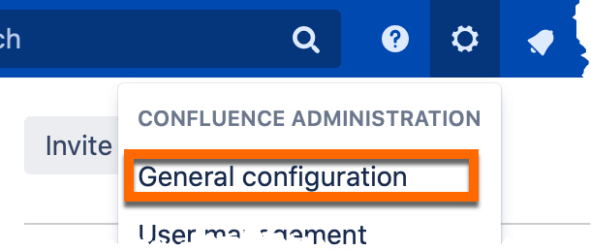 An image of the sub menu that appears on clickin the cog icon within the confluence navigation bar
