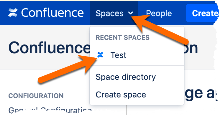 Image of selecting space from spaces drop down.