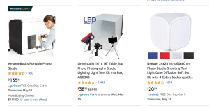 Commercial lightboxes on Amazon