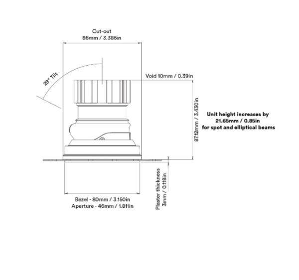 Fade Trimless Adjustable Plaster in downlight