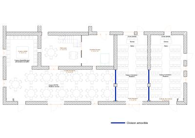 Plan grande salle buffet et formation 80 places petites tables