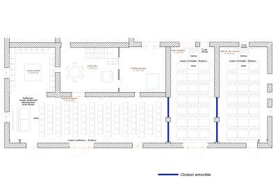 Plan grande salle conférence et formation 80 places