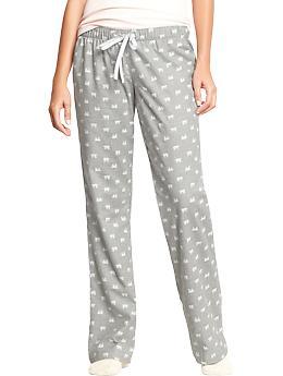 Women's Printed Flannel PJ Pants - Polar Bear