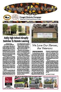 orange town news cover from november 20, 2020