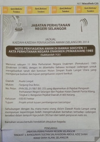 Notis Hutan Simpan Kuala Langat