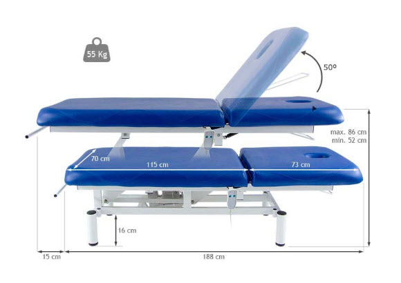 Two Section Electric Treatment Table Q PLUS 1 with Moveable Backrest 11