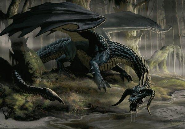 dragao-negro-em-pantano-600x419 A Torre do Cavaleiro Vampiro, terceira parte