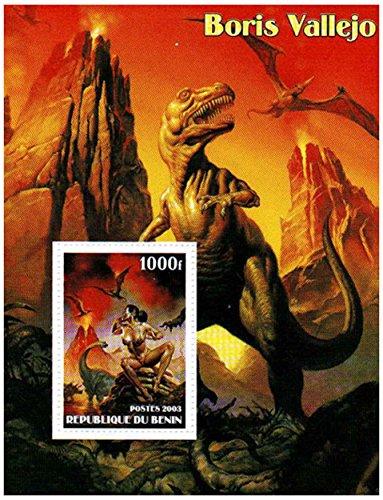 Boris Vallejo dinosaurio ilustraciones y niñas - Casa de la Moneda y sheetlet sello sin montar