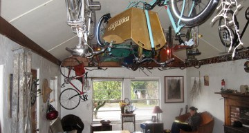 We stored bikes anywhere and everywhere we could, including on Jamie's ceiling and in the middle of his living room.